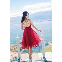 新款红色连衣裙2018女夏新款吊带雪纺露背海边度假沙滩裙长裙礼服裙性感潮流 X
