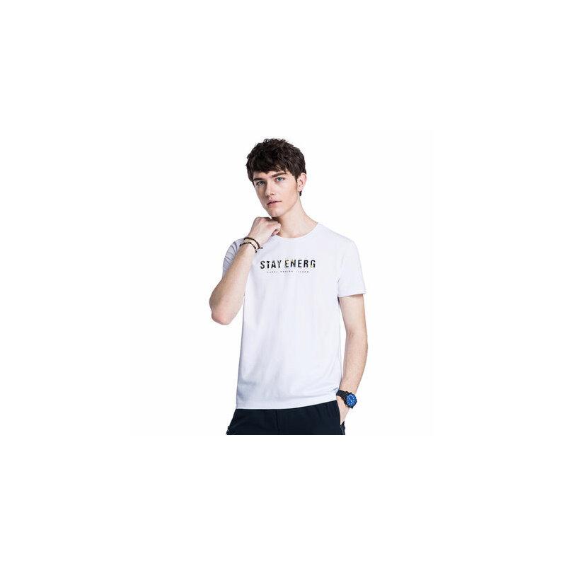 camel 骆驼男装 年夏季新款休闲印花T恤 男青年微弹圆领短袖上衣
