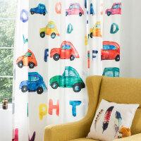 北欧简约现代男孩儿童房窗帘卧室遮光布创意卡通窗帘遮阳防晒 滴滴叭叭-布 1米面料(加工费另计)