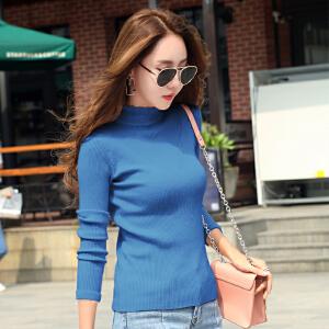 早秋新款半高领毛衣女长袖打底衣服韩版修身显瘦毛边针织上衣