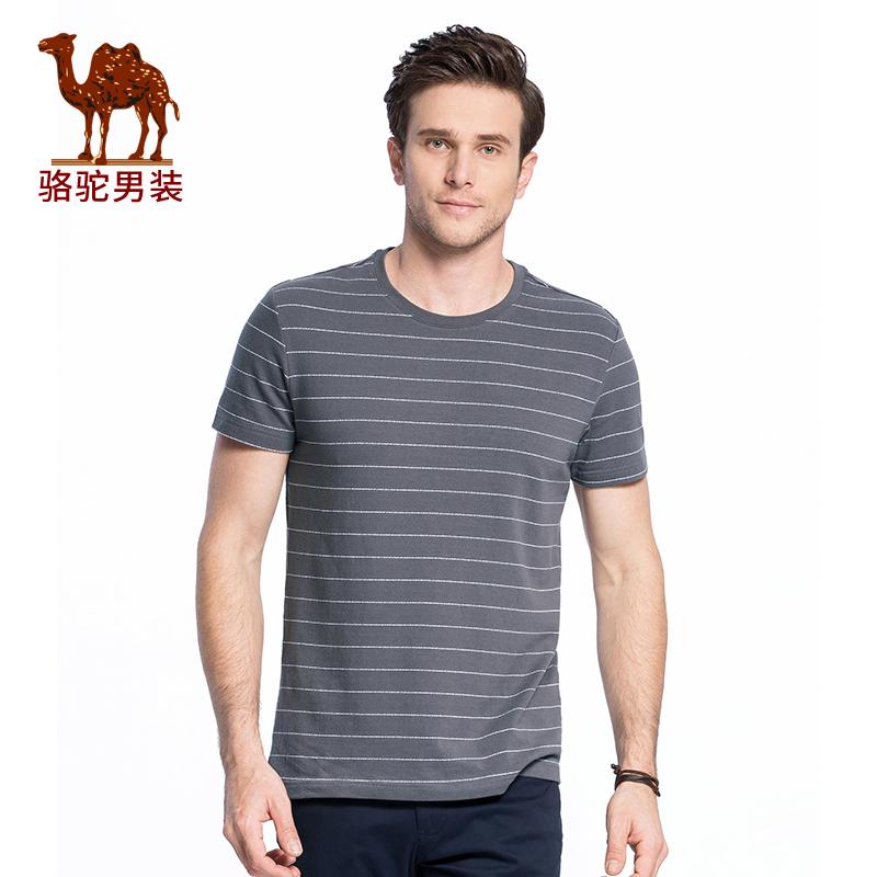 骆驼男装 2018夏季新款潮流青年休闲短袖条纹圆领棉T恤男上衣