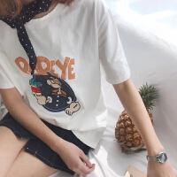 夏季宽松显瘦百搭波比大力水手印花圆领T恤短袖学生tee 均码