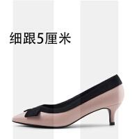 蝴蝶结工作鞋女黑色中跟低跟尖头粗跟单鞋细跟舒适职业高跟真皮鞋SN6738