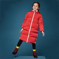 【3折价:295】笛莎童装女童羽绒服冬装新款中大童长款连帽双开拉链羽绒服