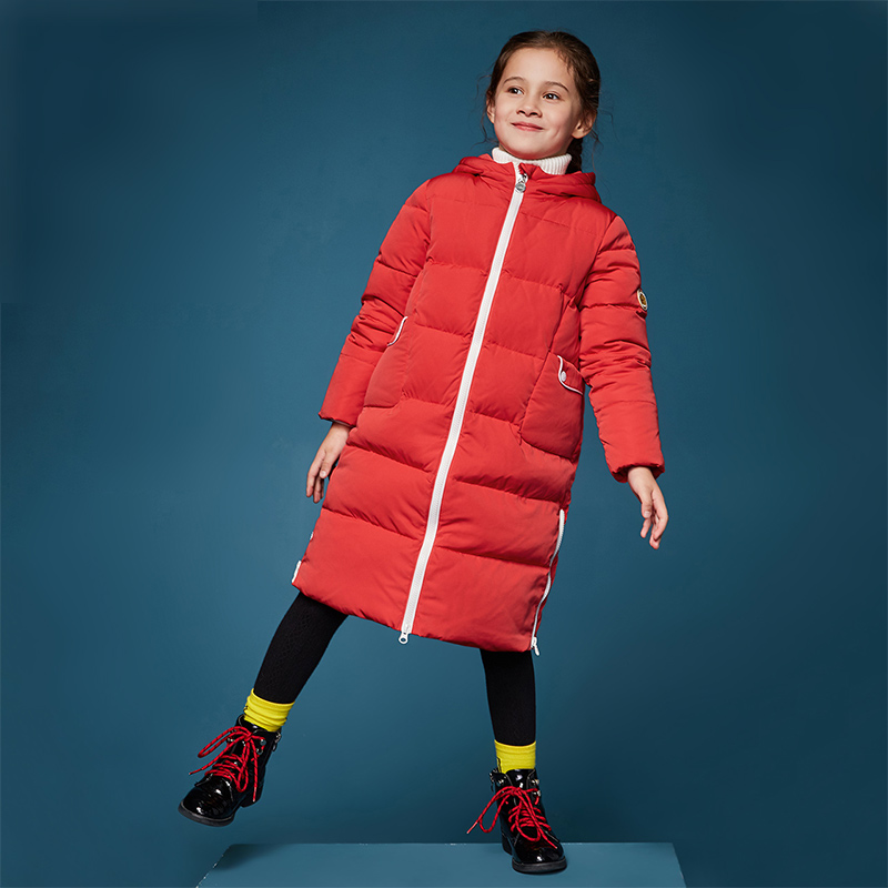 【2件3折券后预估价:111】笛莎童装女童羽绒服冬装新款中大童长款连帽双开拉链羽绒服