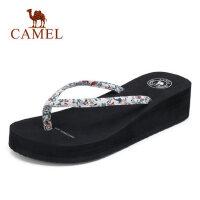 骆驼人字拖女夏时尚 2018新款外穿厚底简约平跟夹拖 居家外出拖鞋