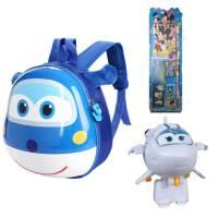 儿童卡通飞侠书包幼儿园宝宝2-3-5岁男女孩蛋壳双肩背包 蓝包-米莉-文具5件套 收藏送文具盒