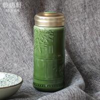 新品 乾唐轩活瓷开运竹随身杯双层陶瓷带盖水杯泡茶推荐