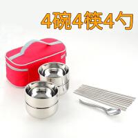 不锈钢碗双层防烫隔热儿童家用便携韩式碗筷勺套装餐具旅游装