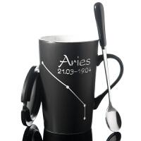 创意马克杯带盖勺个性情侣陶瓷杯子简约男士咖啡杯喝水杯