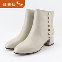 红蜻蜓中跟短靴真皮秋季新款加绒棉鞋女冬粗跟百搭马丁靴
