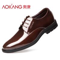 奥康商务正装皮鞋时尚潮流漆皮橡胶底真皮办公室工作结婚德比男鞋