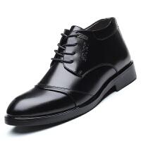 冬季男士加绒保暖棉鞋男冬天羊毛鞋子高帮商务休闲鞋皮毛一体皮鞋真皮