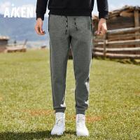 【一件三折】aiken/爱肯男士卫裤新款收口束脚裤纯棉弹力运动裤休闲小脚哈伦裤