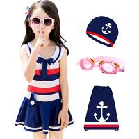 儿童泳衣女孩中大童韩国连体裙式泳装平角女童学生游泳衣套装