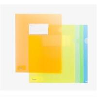 树德A1813 L型插页标签式文件袋资料袋 A4带名片两页夹单页夹 12个装 颜色随机