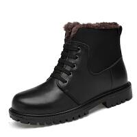 东北男士加绒保暖马丁靴冬季防滑防水真皮高帮加厚大码46棉鞋男37单鞋 37-46