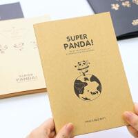 巨门文具 32K16K黑卡本牛皮本笔记熊猫超人软抄速写素描记事本子