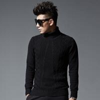 秋冬 新款韩版粗毛线修身套头厚款男士毛衣 针织衫高领保暖打底衫