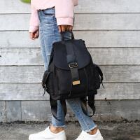 双肩包女帆布背包2017新款韩版潮百搭休闲旅行女士尼龙牛津布包包 黑色