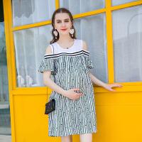 中长款露肩短袖孕妇连衣裙夏季孕妇装夏装2018新款宽松孕妇裙