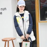 2018冬装新款韩版加厚女大童修身棉袄中长款12-15岁女童棉衣 150cm(S码 建议体重:90斤以下)