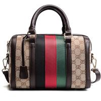 新款欧美时尚女包波士顿包枕头包印花手提包斜挎包单肩小包包 棕色