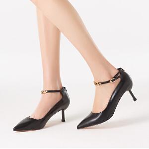 依思q春季新款单鞋休闲尖头脚环绑带酒杯跟高跟女鞋