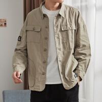 唐狮美式工装衬衫男长袖春秋军事风多口袋夹克日系复古宽松外套潮