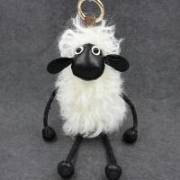 可爱小羊公仔挂件羊毛皮草包包钥匙扣挂件毛绒玩具 小羊
