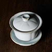 龙泉青瓷三才盖碗茶杯茶具大号汝窑薄胎冰裂手工陶瓷功夫茶碗套装