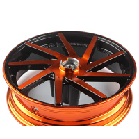 摩托车GY6福喜鬼火一代改装前轮毂10寸电动车铝合金钢圈电摩轮毂 10寸5.7橙色