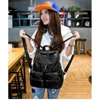 双肩包女韩版潮休闲2018新款时尚软皮书包旅行背包女士包包妈咪包 黑色 专柜品质