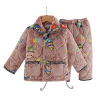 秋冬加厚款夹棉男童珊瑚绒儿童睡衣长袖法兰绒宝宝家居服套装童装