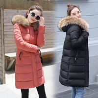棉袄羽绒冬季新款时尚加厚中长款女士修身大毛领连帽棉衣外套