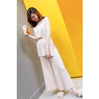 2018夏装新款女装韩版气质小香风针织阔腿裤时髦套装chic两件套潮
