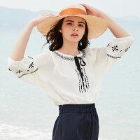 【满299减200】美特斯邦威2018夏新款短袖衬衫女原宿风清新可爱上衣绑带雪纺衫