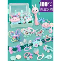 新生婴幼儿3-6个月可咬牙胶摇铃玩具男女孩宝宝0-1岁训练益智玩具