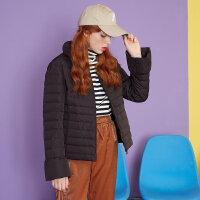 美特斯邦威轻羽绒服女短修身冬装新款收腰保暖面包服商场款