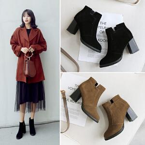 ZHR2018秋冬季新款韩版切尔西靴粗跟短靴百搭高跟单靴百搭女靴子