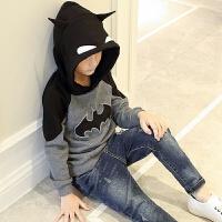 男童卫衣春秋新款儿童春装韩版中大童春季蝙蝠侠男孩连帽外套
