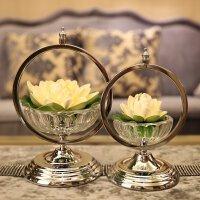 莲花摆件装饰品玻璃工艺品家居客厅摆件新古典样板间摆设