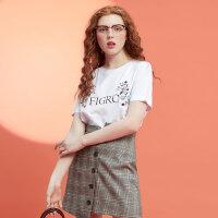 【2件2.5折到手价:29.8】美特斯邦威T恤女夏装新款ins时尚学院风chic绣花印字母上衣