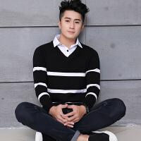 衬衫领假领带领衬衣领长袖线衣 秋装韩版上衣男士毛衣假两件针织衫