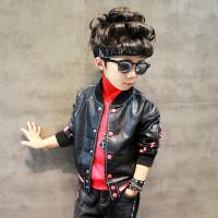 童装男童皮衣外套秋装2018新款儿童韩版皮夹克中大童棒球服