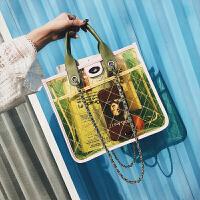 包包女2018夏季新款大容量菱格链条包透明大气手提塑料单肩斜挎包