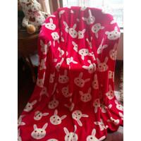 ???毛毯加厚法兰绒单人双人珊瑚绒盖毯午睡毯子冬季宿舍床单 玫红色 小兔