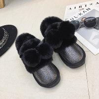 雪地靴女冬季韩版毛毛球百搭加绒保暖平底面包鞋学生棉鞋