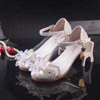 女童公主水晶鞋灰姑娘童鞋秋季儿童高跟鞋皮鞋