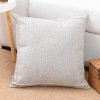 0716142525382简约现代纯色加厚棉麻抱枕客厅大靠垫亚麻沙发靠枕办公室靠背含芯